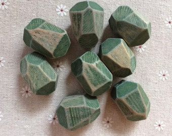 5 Pcs  25x35mm Large  Faceted Wood Bead (NW258)-Green