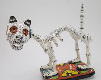 SKELETON TALAVERA CAT  catrina kitten mexican folk art day of the dead
