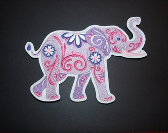 Flower Power Pink and Purple Elephant Iron on Adhesive Patch Accessory