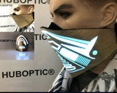 Gold Mask Party Electro Mask - Light Up Mask - DJ Mask LED Mask Rave Mask - Robot Mask - Dancer Mask - Ninja Mask Superhero Villain Cosplay