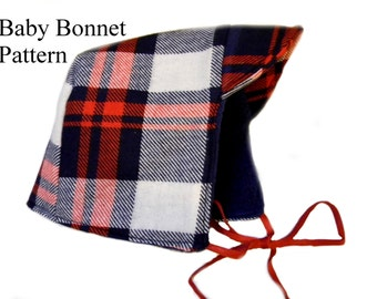 Baby Bonnet Sewing Pattern for girls -Reversible, Fleece - Lined Fall and Winter Hat PDF