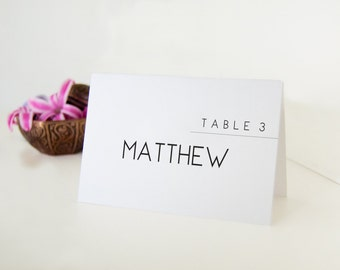 Simple Minimal Place Cards, Wedding Place Cards, Custom Name Place Cards, 12 Personalized Cards for Table Setting