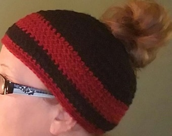 Black and Red Messy Bun Beanie