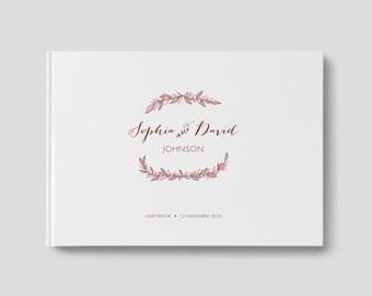 Maroon Wedding Guest Book, Fall Wedding Guest Book, Fall Guest Book, Autumn Wedding, SKU: WFK GB 101