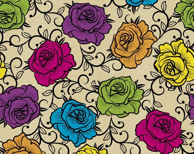 David Textiles - Calavera - Rosas Prismaticas - DT-43854-CW2 (Cream-Multi) - Cotton Woven Fabric