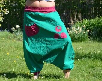 harem yoga pants green wine red  36 / 38