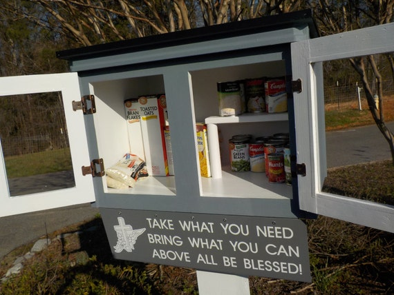 Blessing Box Little Free Pantryone Color With Metal Roof And