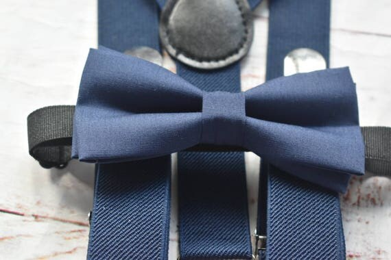 Kids Navy Bow Tie  for Baby, Toddlers and Boys (Kids Bow Ties) with Braces / Suspenders