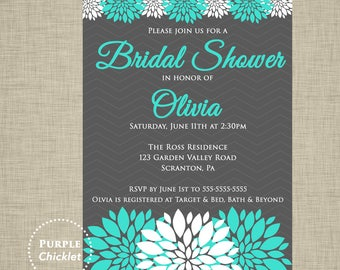 Bridal Shower Invitation Turquoise and Gray Floral Birthday Invite Personalized Party Printable Invite JPEG file 30