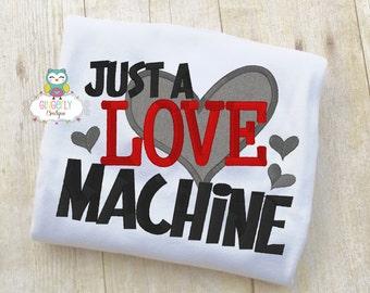 Just a Love Machine Shirt or Bodysuit, Valentine Shirt, Valentines Day Shirt, Valentines Day Outfit, Boy Valentine, Heart Shirt