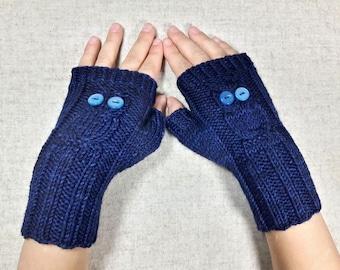 Owls Fingerless Gloves for kids, dark blue, handknitted wrist warmers, mittens