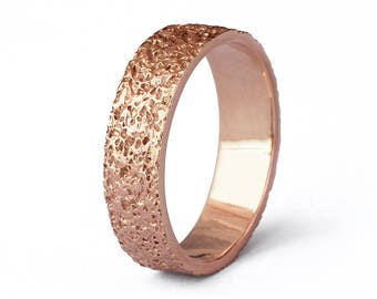 STARDUST Alternative Wedding Band, Textured Wedding Band, Mens Rose Gold Wedding Band Ring, Rose Gold Ring Band