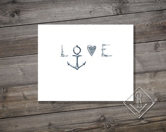 Sailor Love. Handwritten Typography Art. A4. Instant Download Printable.