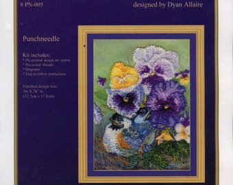 PUNCHNEEDLE KIT - CHICKADEES, under the pansies, nature, flowers, from original art,