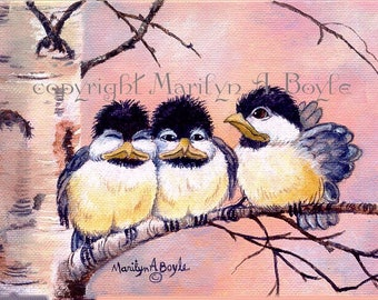 ACEO LIMITED EDITION, run of 15, baby chickadees, 2.5 x 3.5 inches, nature, collector's card, signed and numbered,