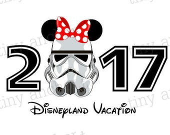 Printable 2017 Stormtrooper Minnie Disneyland Vacation Iron On Transfer - DIY Disney Shirts, Family Vacation
