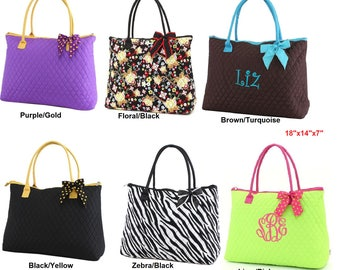 Personalized with Embroidery Quilted Floral Large Tote Bag