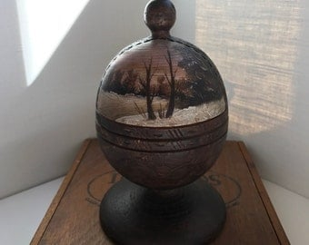 Beautiful Vintage Russian Hand Painted and Carved Wood Egg on Pedestal