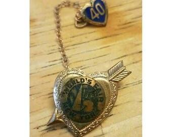 Antique World's Fair heart pin brooch