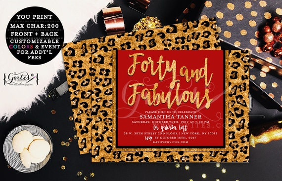 Forty and fabulous, designer birthday invitation, glitz glam couture, animal print, red gold glitter, modern fashion glamour digital invite