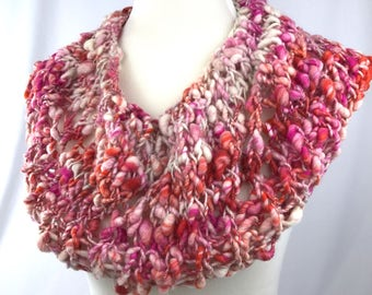 Pink & Orange Cowl // art yarn // unique neckwarmer // knitted gifts // Wool // bobble cowl // wool cowl // handmade cowl