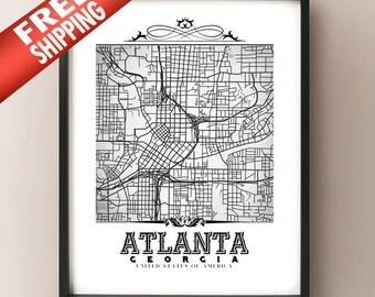 Atlanta Vintage Style Black & White Map Art Print - Atlanta, Georgia City Map Decor