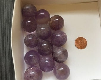 "One (1) Small Amethyst Sphere 1"" Dreams Crown Chakra - Ships free in US!"