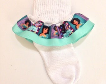 Jasmine Ruffle Socks - Jasmine Socks - Ruffle Socks - Character Girl Socks - Princess Jasmine Socks - Disney Jasmine Socks