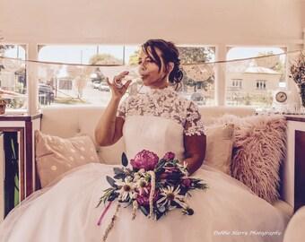 ivory tulle wedding dress | vintage inspired bridal dress | Bridal with sleeves