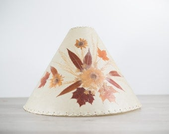 Vintage Parchmant Lampshade with Pressed Brown Leaves and Flowers