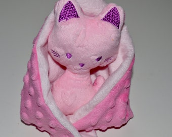 Cat security blanket-Pink Minky Lovie-  Lovey-baby shower gift-cat luvie- Ready to ship- Baby gift