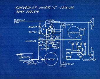 1927 Antique Blueprint Auto Car Chrysler Chevrolet Engineering Wiring Mechanical Urban Industrial Decor Vintage Car Print
