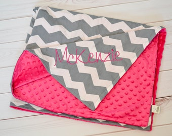 Baby Blanket - Baby Girl Blanket - Personalized Baby Blanket - Minky - Chevron baby blanket - Pink & Grey - Nursery Blanket - Baby Gift