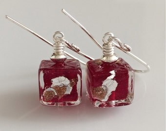Red Venetian Glass Earrings    Murano Glass    Glass Cube Earring   Sterling  Silver Earrings    Ruby Red Earrings