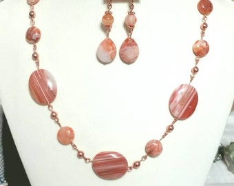 Striped Red Agate Necklace and Earrings