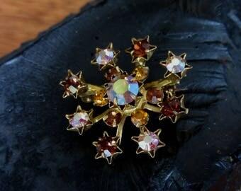 Vintage Atomic Rhinestone Brooch, Amber/Copper/Yellow/Blue/Pink Rhinestone Brooch,Iridescent Mid Century Brooch,1950's,Austria,Retro Jewelry