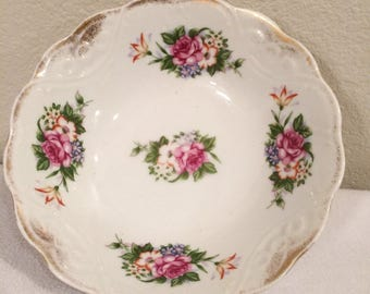 Vintage Antique Round White floral with  Gold Trim Bowl