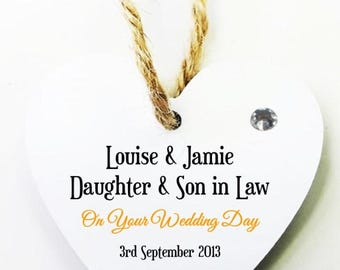 Daughter and Son in Law Personalised Heart Tag * Mini Plaque