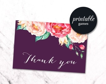 Floral Thank You Card, Baby Shower Thank you Card Printable, Birthday Thank you card Boho, Printable Thank you card Pink Purple