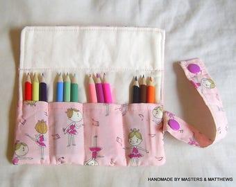 Colouring Pencil Roll, Ballerina Fabric, Crayon Roll, Pencil Holder, Pencil Wrap, Pencil Pouch, Pencil Case, Party Bag Gift, Half Pencils