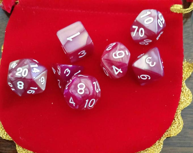 Burgundy 7 Die Polyhedral Set with Pouch
