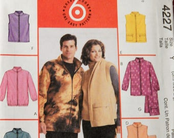 McCall's 4227 Easy to sew jackets, vests and scarf pattern Uncut Sizes small (34-36), medium (38-40) and large (42-44)