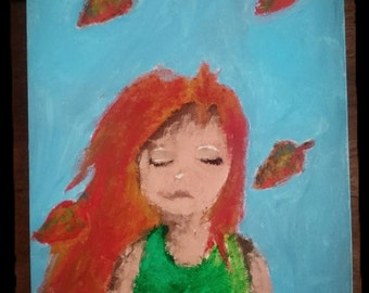 The Autumn Girl-Original acrylic paint on Canvas