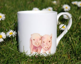 Beautiful china mug with three little piglets design (based on original watercolour)