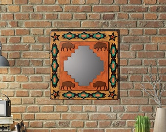 Southwestern Mirror Southwest Mirror Buffalo Rustic Mirror Southwestern Art Southwestern Decor Western Decor Western Mirror READY TO SHIP