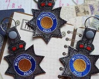Metropolitan - POLICE - UK - London - Law Enforcement - In The Hoop - Snap/Rivet Key Fob - DIGITAL Embroidery Design