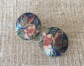 Vintage cloisonne earrings retro enamel studs butterfly design floral flower gold trim 1990 1980