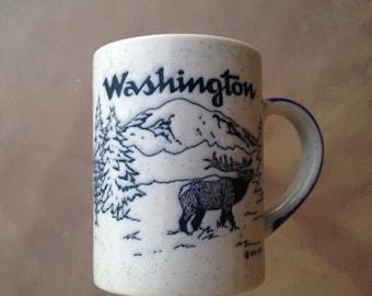 Washington Mug, Ceramic Washington Mug, Speckled Mug, White Blue Mug, Washington Souvenir Mug, Elk Mug, Moose Mug, Log Truck Mug