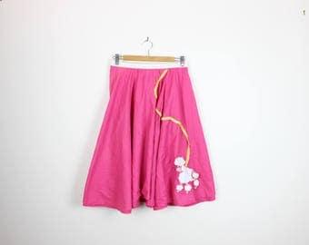 Applique Poodle Skirt Hot Pink 80s Does 50s Rockabilly Circle Skirt Curve Plus Size