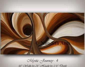 Large Brown Wall Art ABSTRACT PAINTING Acrylic Wall Decor Wave Oil Painting Canvas Art Contemporary Art Home or Office Art, Wall Hanging